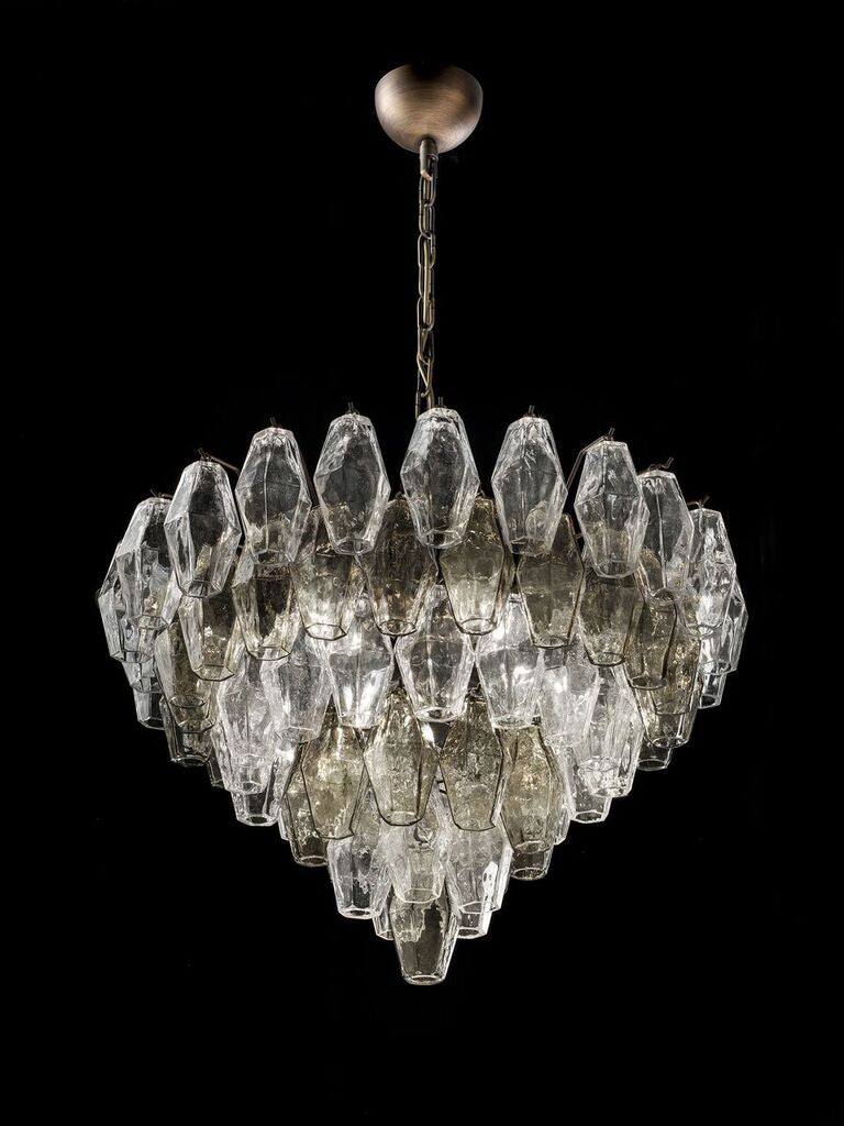 65 cm custom smoked glass poliedri  chandelier with custom color and size options