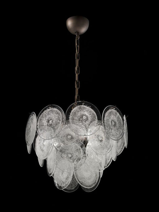 Modernist disc chandelier with bubbled Murano glass