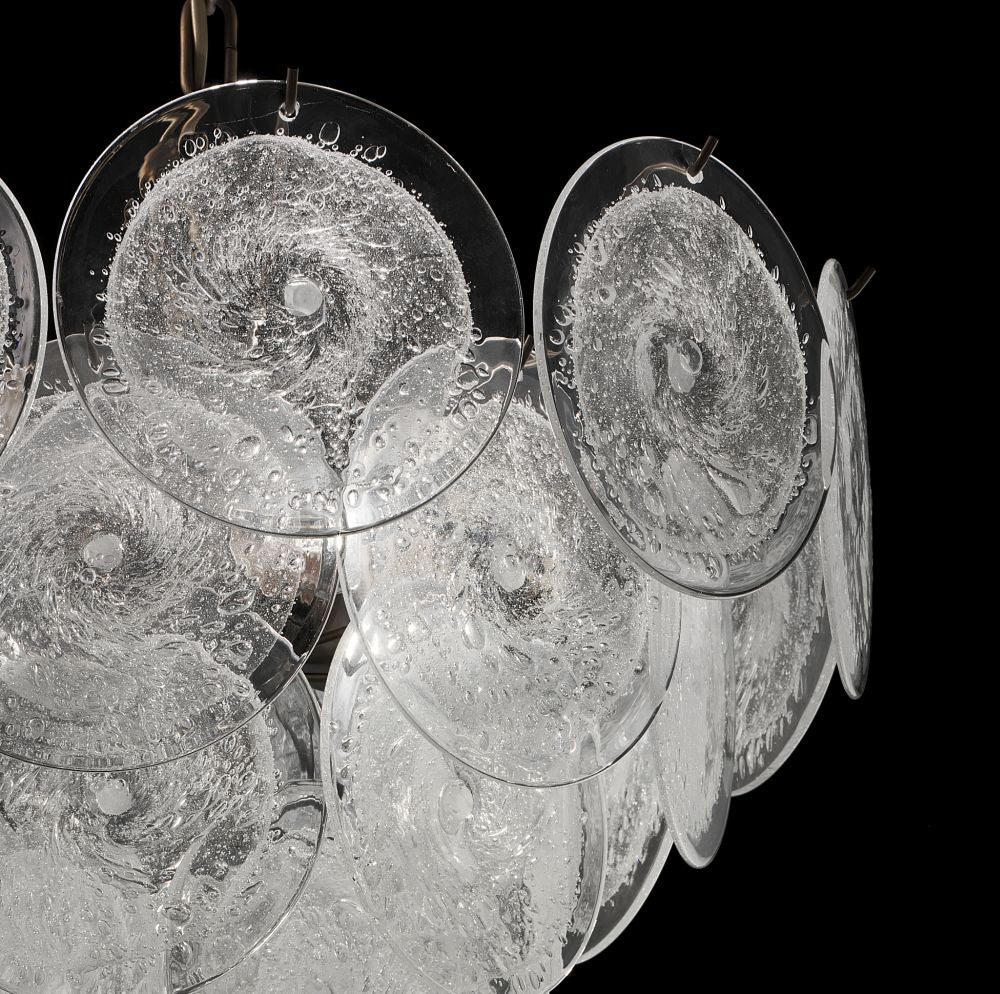 Modernist chandelier with bubbled Murano glass discs and custom options