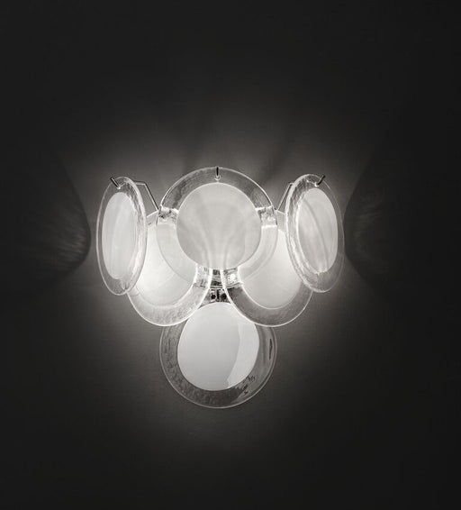 Sputnik disc wall light with bubbled Murano glass