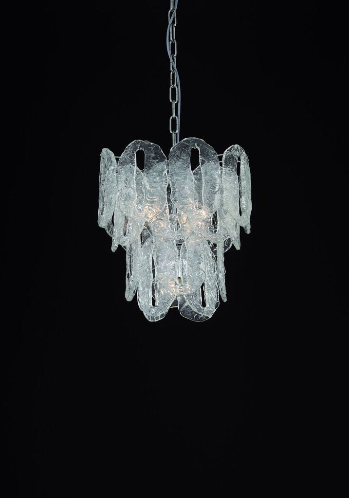 Ghiaccio or cracked Murano  ice glass chandelier in custom sizes