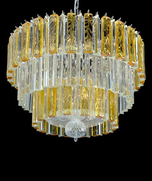 Beautiful large modern mid-century chandelier with clear and amber Venetian glass prisms