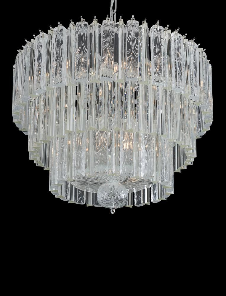 Elegant mid-century  Venetian chandelier with  clear triedri prisms in Murano glass