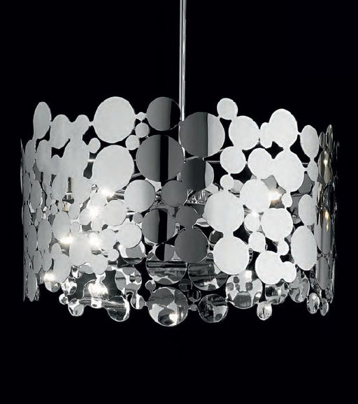 Modern 50 cm bubble-cut ceiling pendant  from Italy in chrome or gold.