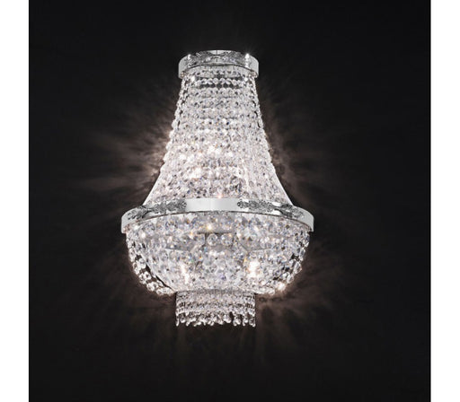 Sparkling tall Empire style wall light with high-grade Egyptian Asfour crystals