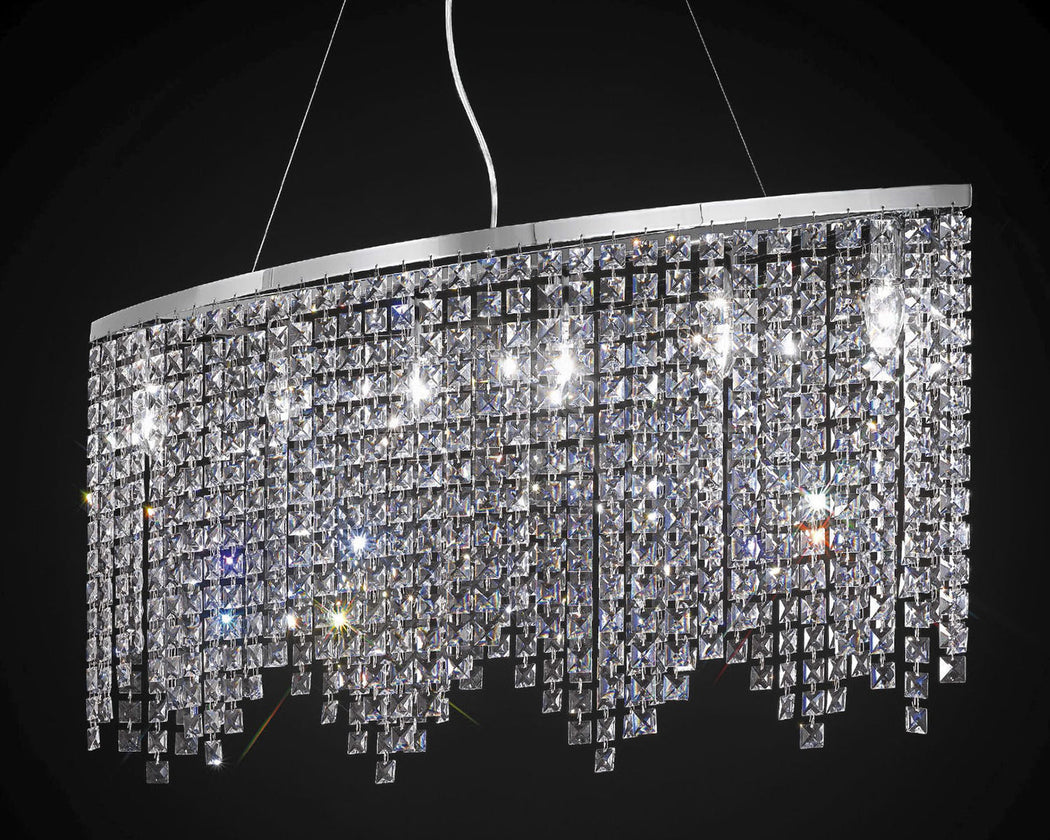 Beautiful modern island chandelier with glittering lead crystal octagons