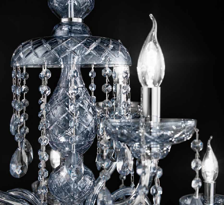Beautiful two tier Asfour crystal chandelier with nine lights.