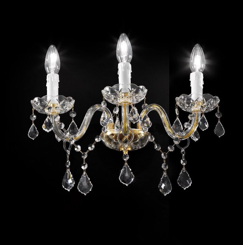 Ornate Italian gold or chrome wall sconce with Asfour crystal and three lights