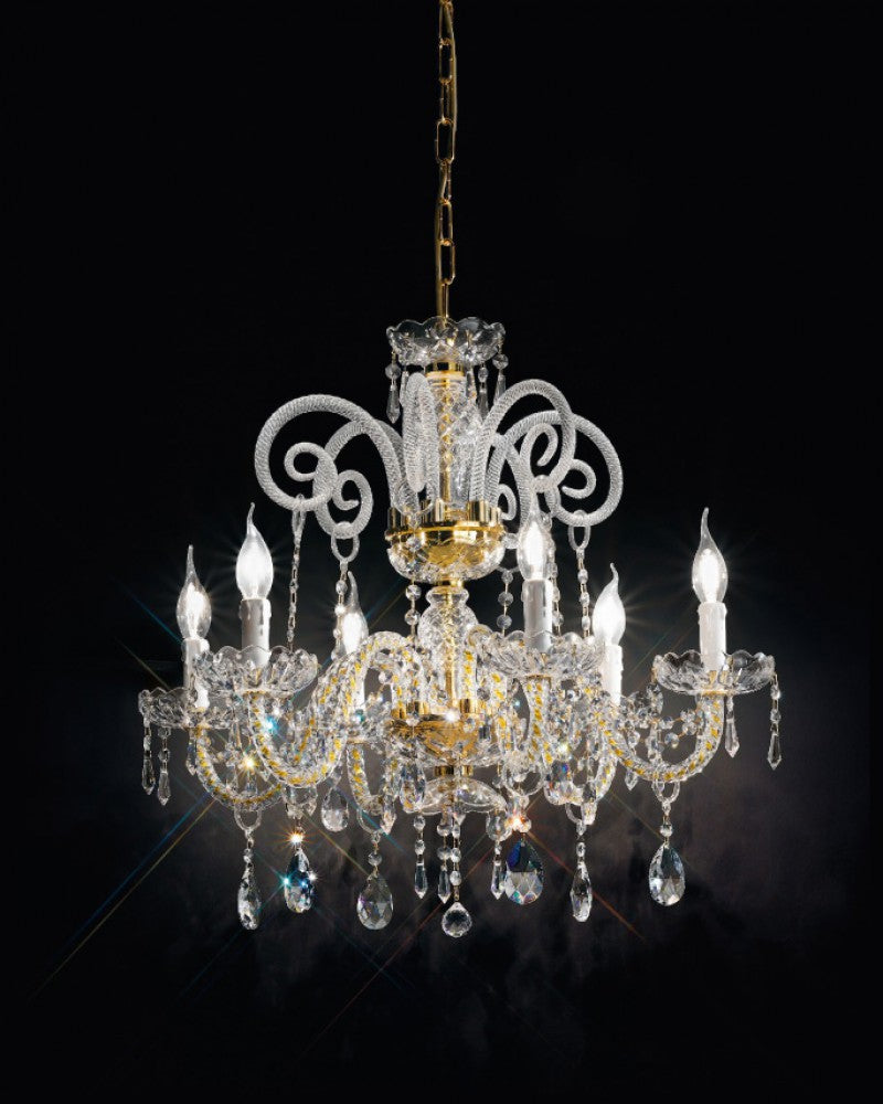 Exquisitely-crafted chrome or gold Italian chandelier with Asfour crystal decoration