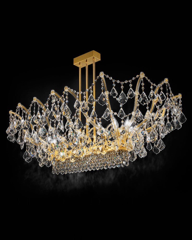 Spectacular Italian ceiling light with glittering Asfour or Swarovski crystals