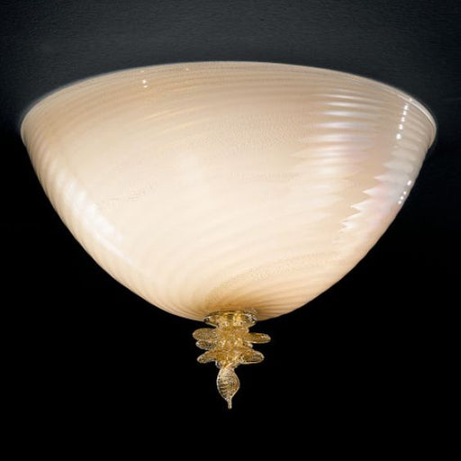 Classic milky-white Murano glass flush ceiling light with 24 carat gold decoration