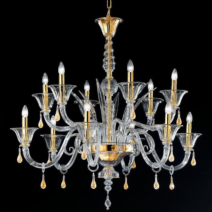 Modern clear, black or orange Murano glass centerpiece chandelier with 12 lights