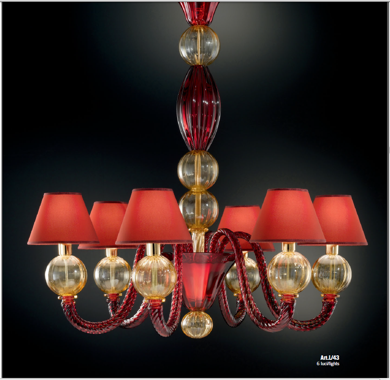 Classic Murano glass chandelier in 5 sizes with amber and red spheres