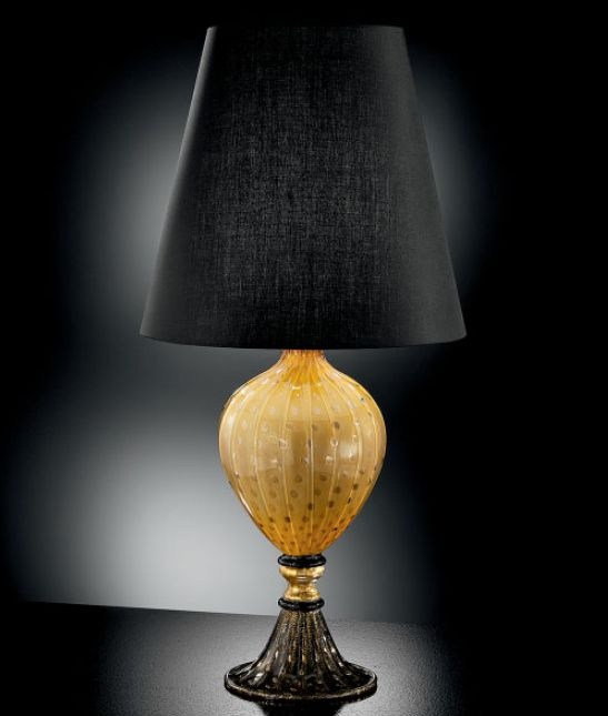 Black and golden yellow Murano glass table lamp with bespoke color option