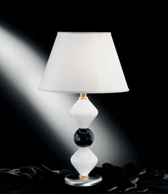 Classic  milk white Murano glass table light with white shade