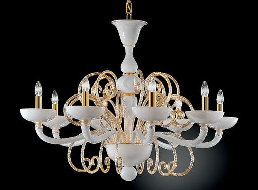 White Venetian glass chandelier with gold leaf curls and 6,8, or 18 lights