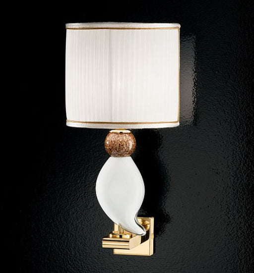 Stylized bird wall light in white Murano aventurine with a gold finish & white shade