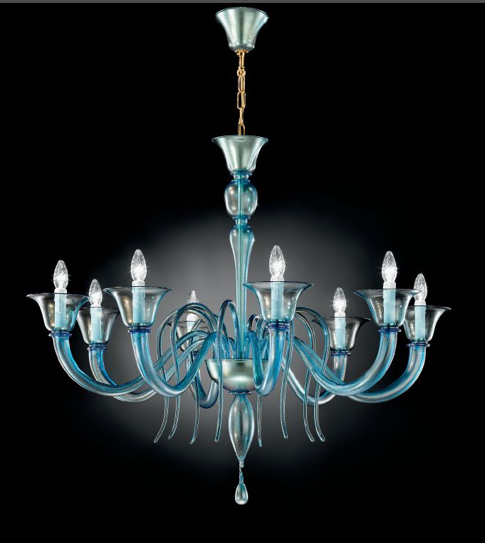 Aquamarine Murano glass chandelier with 6 or 8 lights and custom color option