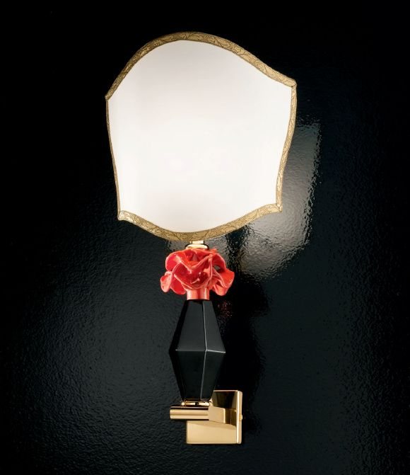Black and coral red Murano glass wall light with flower detail and custom color option
