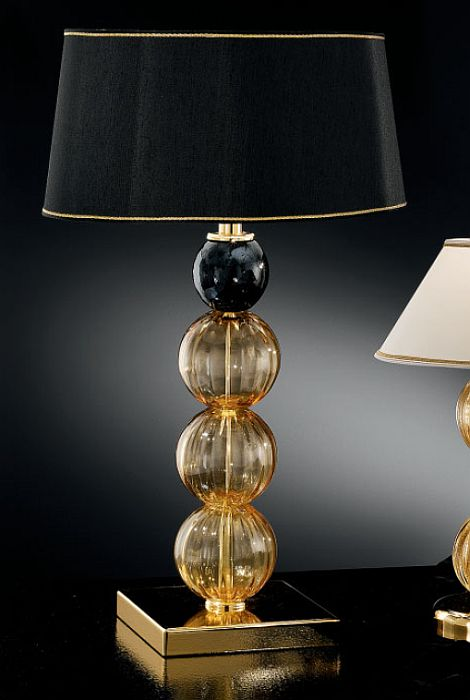 Modern Italian table lamp with black and amber Murano glass spheres