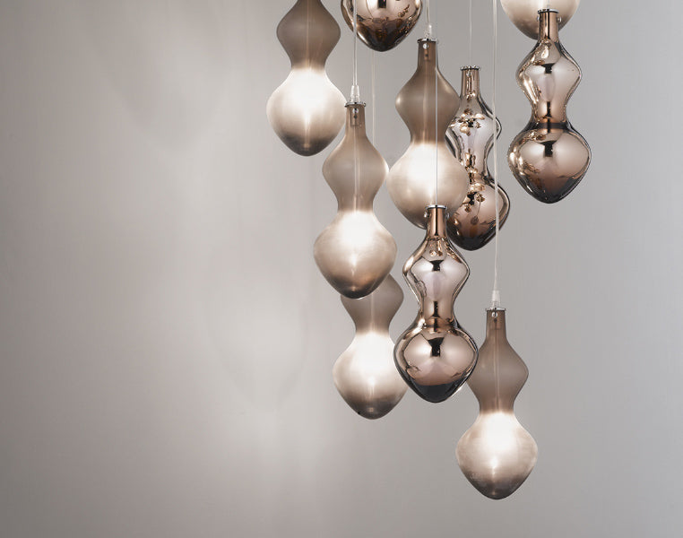 Modern chocolate or white & silver Murano glass stairwell chandelier