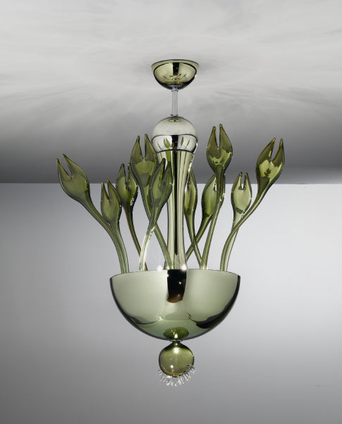 "Very impressive green Murano glass ceiling light measuring 37 "" in height"