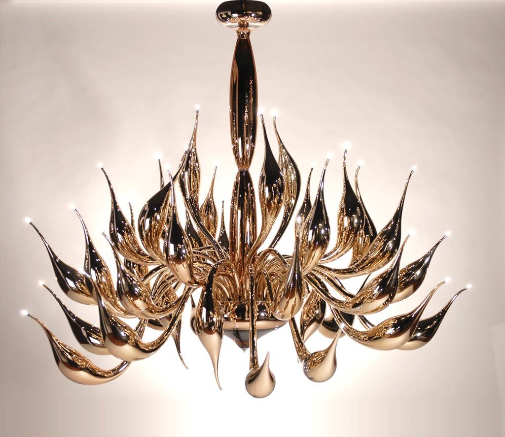 Glamorous Murano art glass chandelier with 24 lights and mirrored gold finish