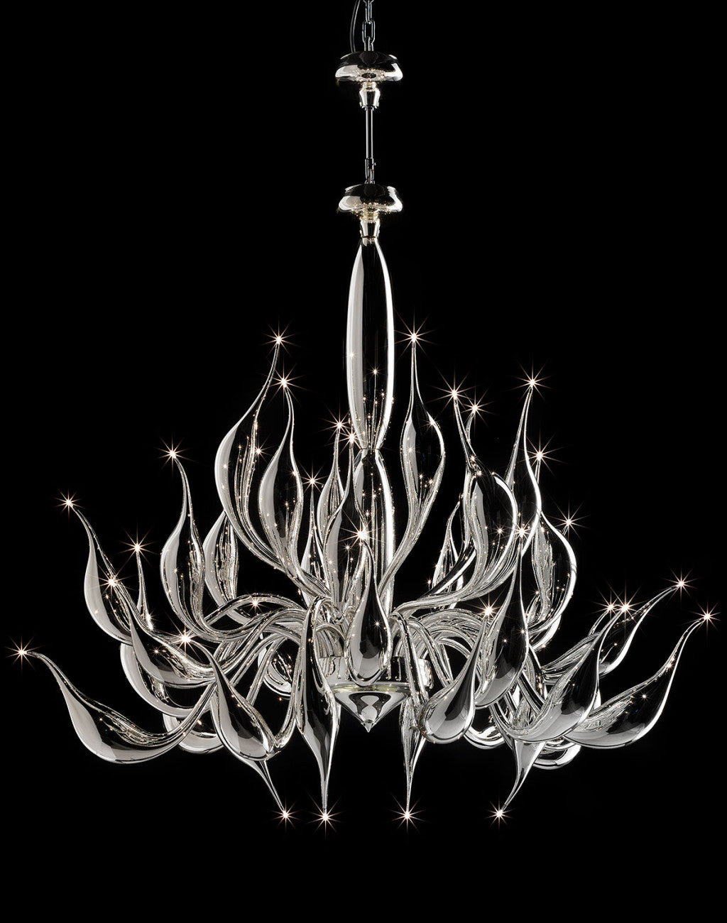 Glorious 24 light Venetian art glass chandelier with silver mirrored glass finish