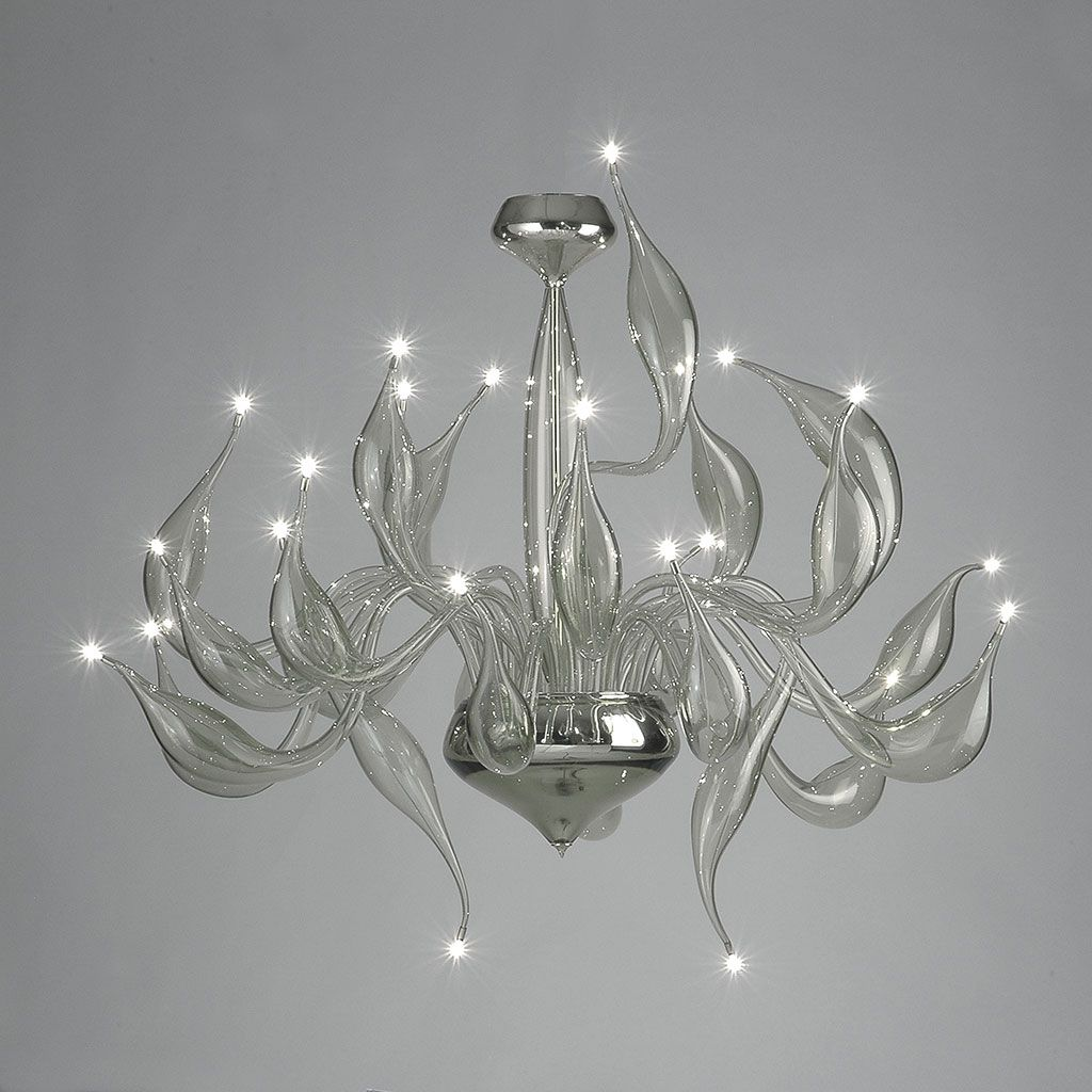 Large modern clear Murano glass art chandelier with 24 lights