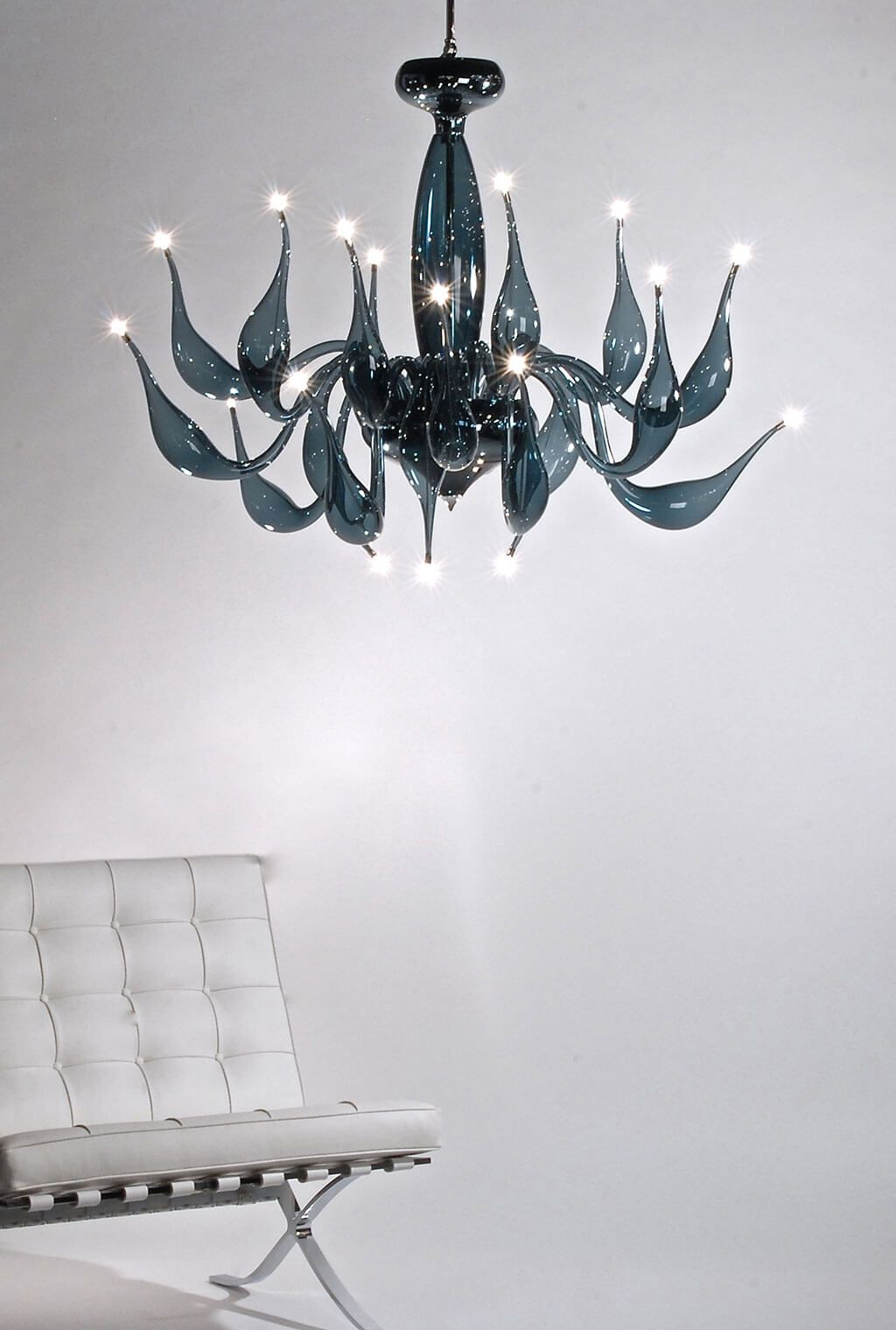 Modern grey Murano glass art chandelier with 24 lights