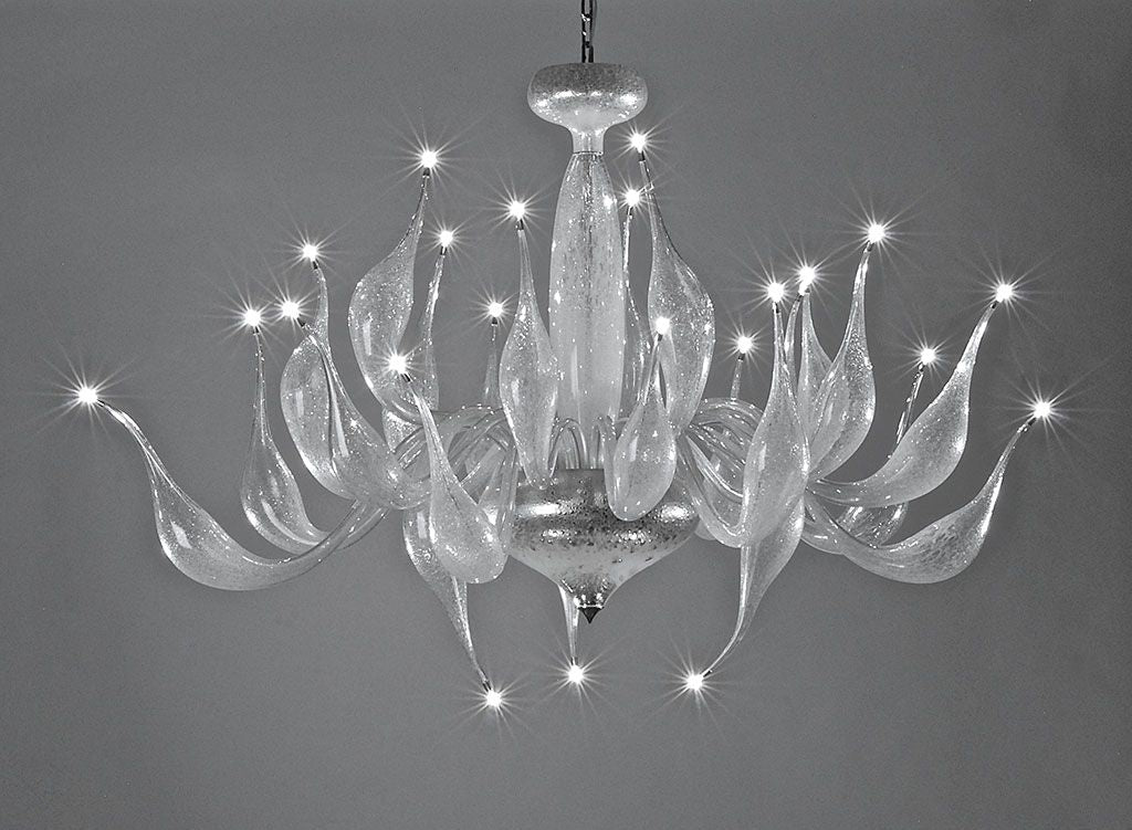 Clear Murano glass art chandelier with lovely bubble design