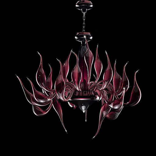 Rich amethyst Murano art glass chandelier with 24 lights