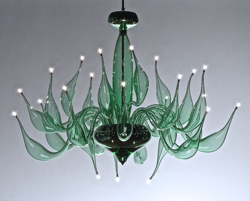 Stylish green Venetian art glass chandelier with 24 lights