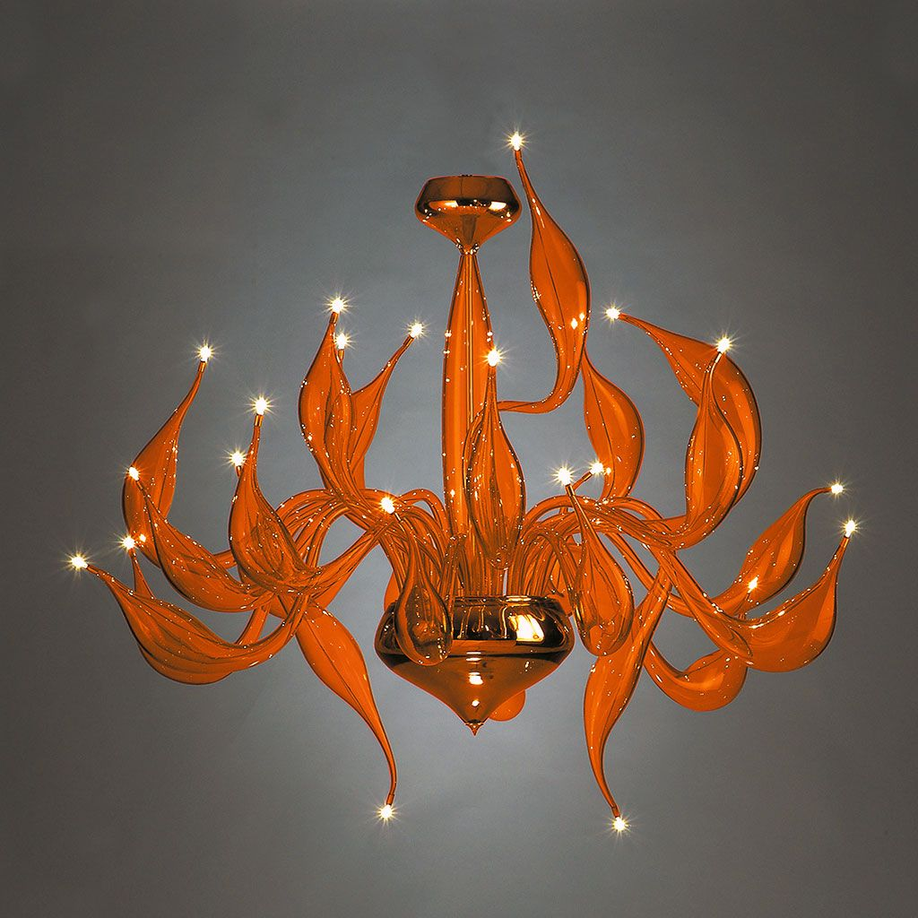 Beautiful bright orange Venetian art glass chandelier with 24 lights