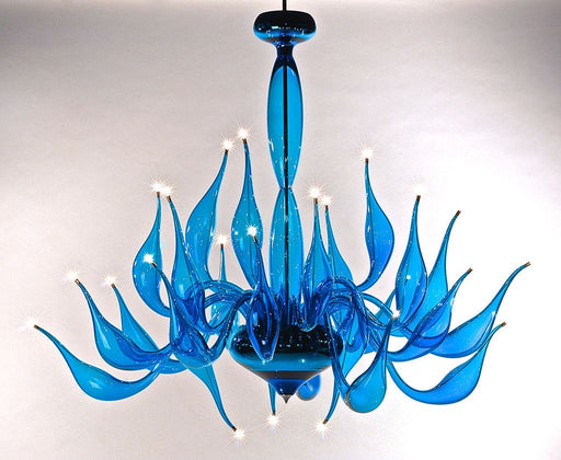 Vibrant light turquoise Murano art glass chandelier with 24 lights