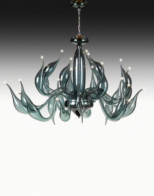 Stylish modern blue-grey Venetian art glass chandelier with 24 lights