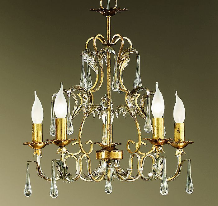Pretty gold 5 light classic chandelier with crystal drops & custom options