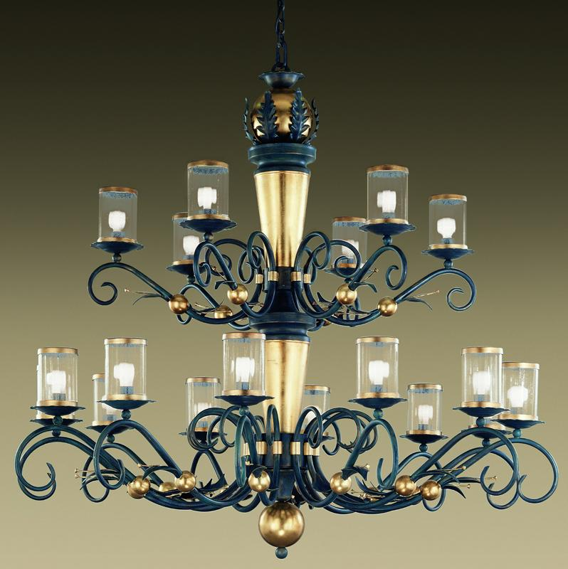 Very large traditional two tier iron & gold chandelier with 18 lights