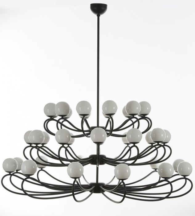 Modern mid-century white globe chandelier with 36 lights