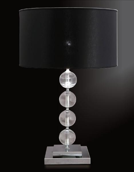 Classic Italian table lamp with lead crystal spheres and black drum shade