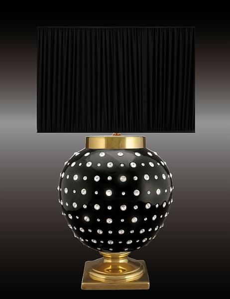 Black Italian ceramic table lamp with 24 carat gold finish and  Swarovski crystals