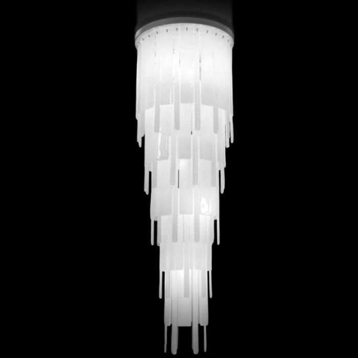 White piastra glass stairwell column chandelier in silk white