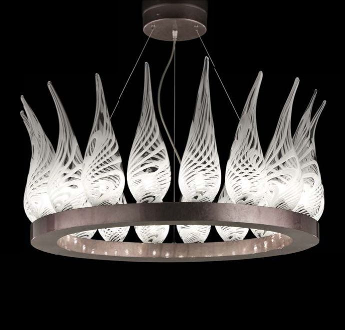 White & clear Murano glass chandelier with 18 lights
