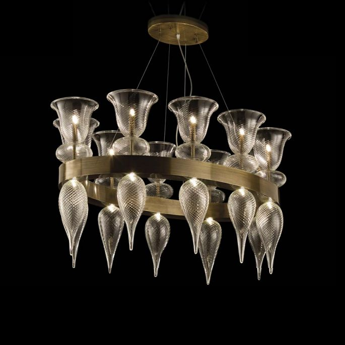 Customizable modern rustic Murano glass chandelier