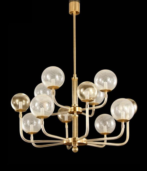 Mid-century inspired chandelier with gold frame & white spheres