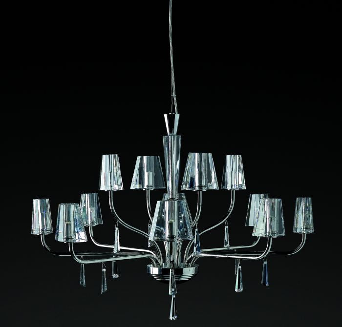 Modern Italian chandelier with optically pure crystal glass diffusers