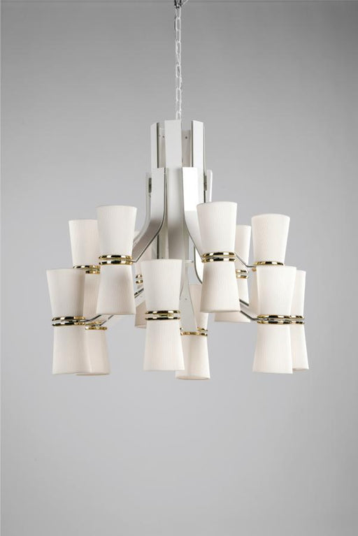 Modern white chandelier from Italy with gold, black, or brass metal details