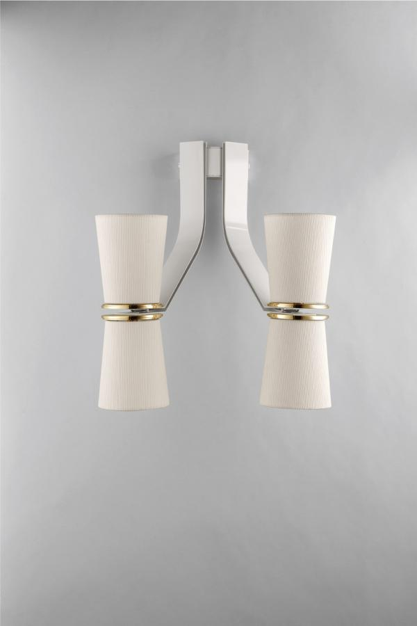 Modern white Italian wall light with gold, black or brass metal details
