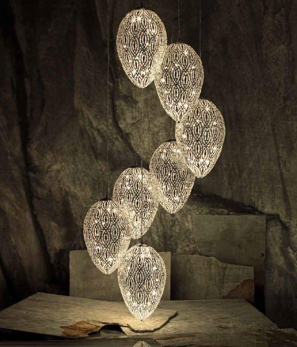 Spectacular large customizable cluster chandelier with Asfour-crystal-encrusted eggs