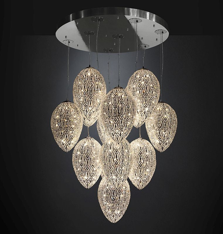 Modern high-end cluster light with nine Asfour crystal-encrusted eggs